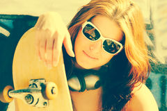 Skater Girl Wearing Sunglasses Stock Image