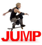 Skater Jumping Over Text Stock Photography
