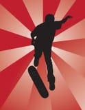 Skater Kickflip. Skater silhouette performing a kickflip Royalty Free Stock Photography