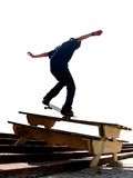 Skater Nosegrind. A skater doing a hard trick on a picnic table -nosegrind Stock Photos