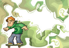 Skater performing stunt. Frame design green. Illustration of balancing skateboarder rides on the board. In frame with the green elements of graffiti Stock Images