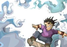 Skater que executa o conluio. Azul do projeto do quadro Fotos de Stock Royalty Free