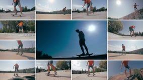 Skater que hace trucos en la puesta del sol Los deportes multiscreen el fondo metrajes