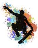 Skater que hace un truco de salto, ejemplo polivinílico bajo del vector con la mancha ilustración del vector