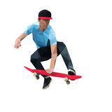 Skater que hace un truco de salto en el monopatín polivinílico bajo Imagen de archivo