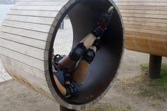 Skater resting in a wheel. In Lisbon Stock Image