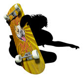 Skater silhouette with imprinted Skateboard Royalty Free Stock Photography
