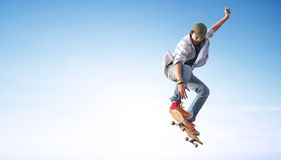 Skater on the sky background Stock Image
