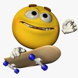 Skater Smilie 1. Smilie Riding a Skateboard with blank skate deck vector illustration