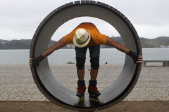 Skater in a wheel with a hat in Lisbon. Portugal Stock Images