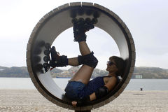 Skater in a wheel in Lisbon. Portugal Stock Photos