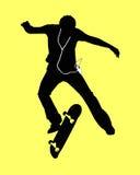 Skaterboy en MP3 spelersilhouet Royalty-vrije Stock Afbeeldingen