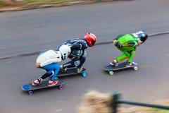 Skateres que compiten con la Velocidad-falta de definición Fotos de archivo libres de regalías
