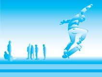 Skaters. Modern sports teenagers on a dark blue background. Street sports Royalty Free Stock Photos