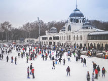Skaters in City Park Ice Rink Budapest Stock Images