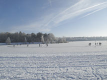 Skaters on natural ice Stock Photography