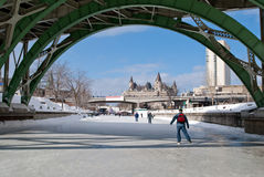 Skaters on the Rideau Canal Stock Images