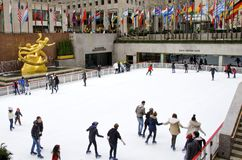 Skaters at Rockefeller Center Royalty Free Stock Photography