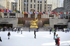 Skaters in Rockerfeller center in New York City Stock Images