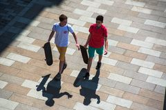Skaters on street royalty free stock photos
