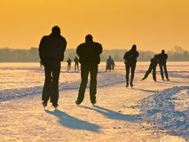 Skaters under setting sun Stock Image