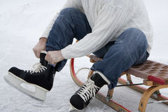 Skaters wearing skates Royalty Free Stock Photo