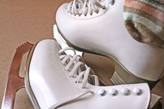 Skates. A pair of white skating boots Stock Photography