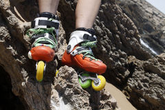 Skates driven into a rock Stock Image