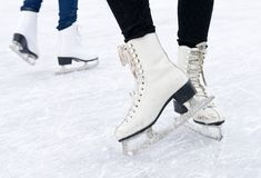 Skates. Feet in skates on ice Stock Photography
