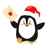 A cute and cheerful penguin runs with a letter in the paw for Santa Claus. Vector isolate on white background. stock illustration