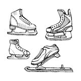 Skates ice for different sports Stock Photos