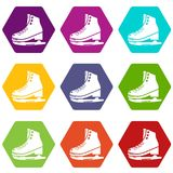 Skates ice icons set 9 vector. Skates ice icons 9 set coloful isolated on white for web Stock Photo