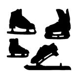 Skates for ice silhouette. Stock Photo