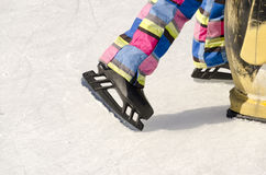 Skates from ice skaters Royalty Free Stock Photo