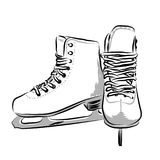Skates illustration. A monochrome illustration of a pair of skates on a white background Stock Photos