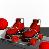 Skates. Red skates with wheels and ball Royalty Free Stock Photo