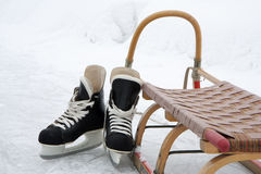 Skates and sledge Stock Photography