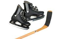 Skates and stick. Winter hockey sport ice skates and stick equipment stock photos