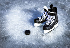 Skates for winter sports in the open air on the ice. Stock Image