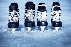 Skates for winter sports in the open air on the ice. Skates for training in winter sports on ice Stock Image