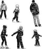 Skating. Vector drawing of children skating on a city park Stock Image