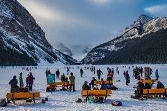 Free Skating At Lake Louise Banff National Park Alberta Canada Stock Images - 207891984