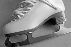 Skating Boot. A white skating boot in grayscale royalty free stock image