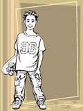 Skating boy. Vector illustration of a young boy holding his skateboard Stock Image
