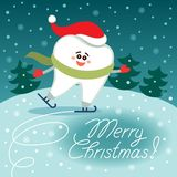 Skating cartoon tooth in Santa hat. Merry Christmas!. Skating cartoon tooth in Santa hat and scarf. Night background with green trees. Merry Christmas! Greeting vector illustration