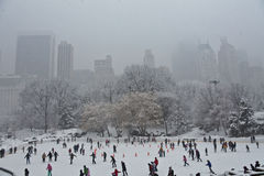 Skating in Central Park in the snow. Skating in Central Park with snow filled sky Stock Photo