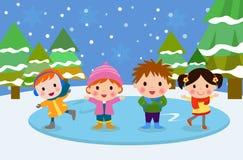 Skating children Royalty Free Stock Photo