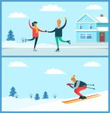 Skating Couple and Skier Set Vector Illustration. Skating couple and buildings, trees covered with snow, and training skier, going down slope, set of posters Royalty Free Stock Photos