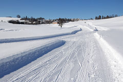Skating or cross-country skiing. Winter Sports in Bavaria - skating or cross-country skiing stock image