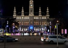 Skating in front of the illuminated viennese town-hall Stock Photography